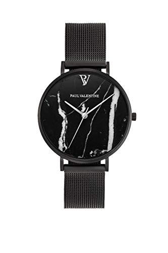 Paul Valentine - Damenuhr mit Mesh Armband - 32, 36 oder 38mm Metallic Ziffernblatt - Edle Damen Uhr mit japanischem Quarzwerk (32mm, Black Mesh) - 1