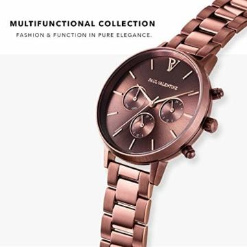 Paul Valentine - Damenuhr - Multifunctional Coffee Link - 38 mm Armbanduhr, Metallic-Ziffernblatt in Roségold, kratzfestes Glas, Edelstahl-Armband, Uhr für Damen - 2