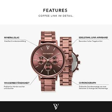 Paul Valentine - Damenuhr - Multifunctional Coffee Link - 38 mm Armbanduhr, Metallic-Ziffernblatt in Roségold, kratzfestes Glas, Edelstahl-Armband, Uhr für Damen - 3