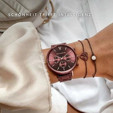 Paul Valentine - Damenuhr - Multifunctional Coffee Link - 38 mm Armbanduhr, Metallic-Ziffernblatt in Roségold, kratzfestes Glas, Edelstahl-Armband, Uhr für Damen - 4