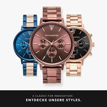 Paul Valentine - Damenuhr - Multifunctional Coffee Link - 38 mm Armbanduhr, Metallic-Ziffernblatt in Roségold, kratzfestes Glas, Edelstahl-Armband, Uhr für Damen - 6