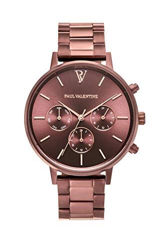 Paul Valentine - Damenuhr - Multifunctional Coffee Link - 38 mm Armbanduhr, Metallic-Ziffernblatt in Roségold, kratzfestes Glas, Edelstahl-Armband, Uhr für Damen - 1