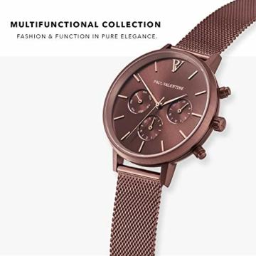 Paul Valentine - Damenuhr - Multifunctional Coffee Mesh - 38 mm Armbanduhr, Metallic-Ziffernblatt, kratzfestes Glas, Milanaise-Armband, Uhr für Damen - 2