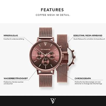 Paul Valentine - Damenuhr - Multifunctional Coffee Mesh - 38 mm Armbanduhr, Metallic-Ziffernblatt, kratzfestes Glas, Milanaise-Armband, Uhr für Damen - 3