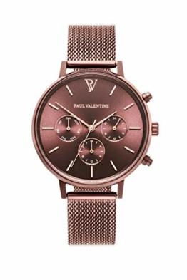 Paul Valentine - Damenuhr - Multifunctional Coffee Mesh - 38 mm Armbanduhr, Metallic-Ziffernblatt, kratzfestes Glas, Milanaise-Armband, Uhr für Damen - 1