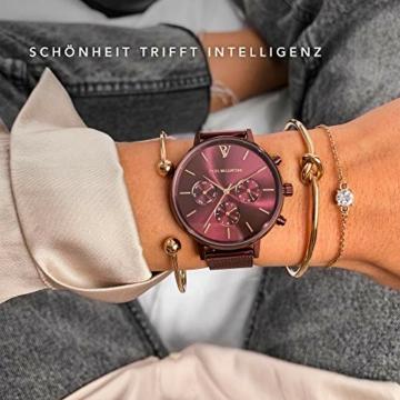 Paul Valentine - Damenuhr - Multifunctional Coffee Mesh - 38 mm Armbanduhr, Metallic-Ziffernblatt, kratzfestes Glas, Milanaise-Armband, Uhr für Damen - 4