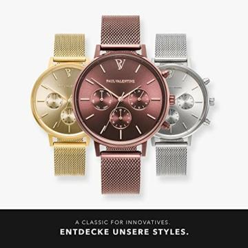 Paul Valentine - Damenuhr - Multifunctional Coffee Mesh - 38 mm Armbanduhr, Metallic-Ziffernblatt, kratzfestes Glas, Milanaise-Armband, Uhr für Damen - 6