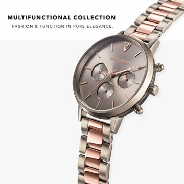 Paul Valentine - Damenuhr - Multifunctional Khaki Link - 38 mm Armbanduhr, Bicolor Metallic-Ziffernblatt, kratzfestes Glas, Edelstahl-Armband, Uhr für Damen - 2