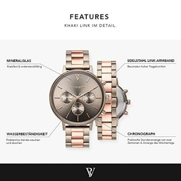 Paul Valentine - Damenuhr - Multifunctional Khaki Link - 38 mm Armbanduhr, Bicolor Metallic-Ziffernblatt, kratzfestes Glas, Edelstahl-Armband, Uhr für Damen - 3