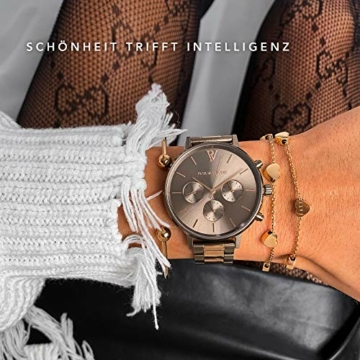 Paul Valentine - Damenuhr - Multifunctional Khaki Link - 38 mm Armbanduhr, Bicolor Metallic-Ziffernblatt, kratzfestes Glas, Edelstahl-Armband, Uhr für Damen - 4