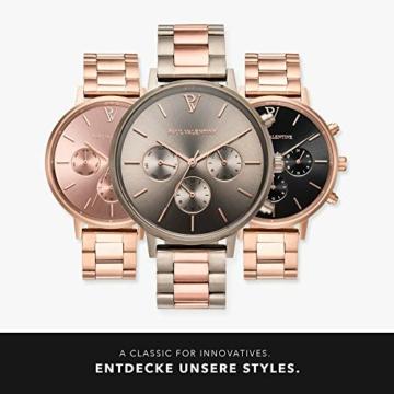 Paul Valentine - Damenuhr - Multifunctional Khaki Link - 38 mm Armbanduhr, Bicolor Metallic-Ziffernblatt, kratzfestes Glas, Edelstahl-Armband, Uhr für Damen - 6