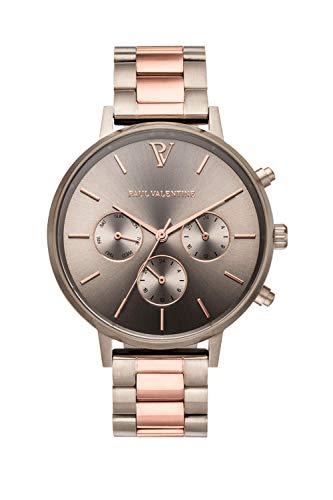 Paul Valentine - Damenuhr - Multifunctional Khaki Link - 38 mm Armbanduhr, Bicolor Metallic-Ziffernblatt, kratzfestes Glas, Edelstahl-Armband, Uhr für Damen - 1