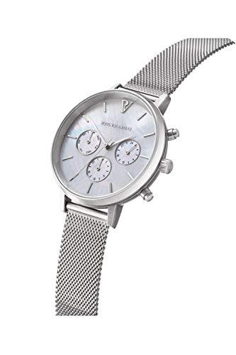 Paul Valentine - Damenuhr - Multifunctional Silver Seashell Mesh - 38 mm Armbanduhr, Perlmutt-Ziffernblatt in Silber, kratzfestes Glas, Mesh-Armband Silber, Uhr für Damen - 2