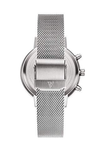 Paul Valentine - Damenuhr - Multifunctional Silver Seashell Mesh - 38 mm Armbanduhr, Perlmutt-Ziffernblatt in Silber, kratzfestes Glas, Mesh-Armband Silber, Uhr für Damen - 3