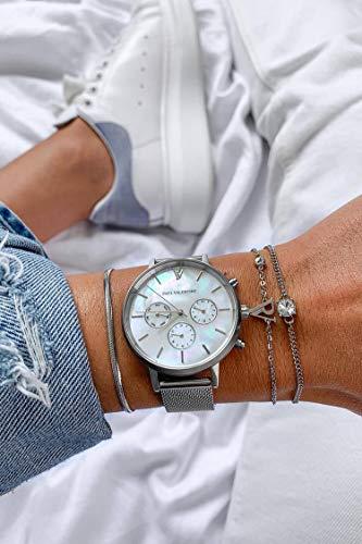 Paul Valentine - Damenuhr - Multifunctional Silver Seashell Mesh - 38 mm Armbanduhr, Perlmutt-Ziffernblatt in Silber, kratzfestes Glas, Mesh-Armband Silber, Uhr für Damen - 5