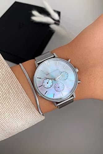 Paul Valentine - Damenuhr - Multifunctional Silver Seashell Mesh - 38 mm Armbanduhr, Perlmutt-Ziffernblatt in Silber, kratzfestes Glas, Mesh-Armband Silber, Uhr für Damen - 6