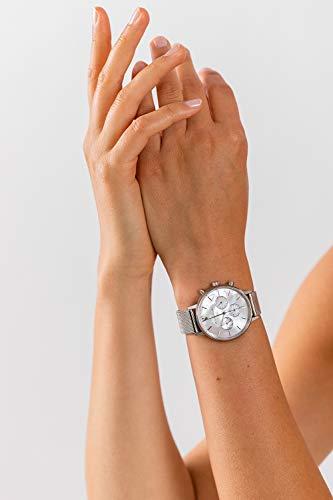 Paul Valentine - Damenuhr - Multifunctional Silver Seashell Mesh - 38 mm Armbanduhr, Perlmutt-Ziffernblatt in Silber, kratzfestes Glas, Mesh-Armband Silber, Uhr für Damen - 7