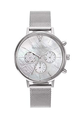 Paul Valentine - Damenuhr - Multifunctional Silver Seashell Mesh - 38 mm Armbanduhr, Perlmutt-Ziffernblatt in Silber, kratzfestes Glas, Mesh-Armband Silber, Uhr für Damen - 1