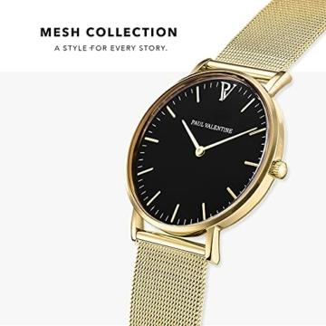 Paul Valentine Damenuhr - Pearl Gold Mesh - Armbanduhr mit schönem Ziffernblatt, kratzfestes Glas, Mesh-Armband in Gold, Uhr für Damen zum Muttertag (32mm) - 2