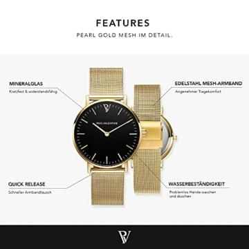 Paul Valentine Damenuhr - Pearl Gold Mesh - Armbanduhr mit schönem Ziffernblatt, kratzfestes Glas, Mesh-Armband in Gold, Uhr für Damen zum Muttertag (32mm) - 3
