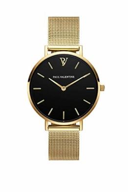 Paul Valentine Damenuhr - Pearl Gold Mesh - Armbanduhr mit schönem Ziffernblatt, kratzfestes Glas, Mesh-Armband in Gold, Uhr für Damen zum Muttertag (32mm) - 1
