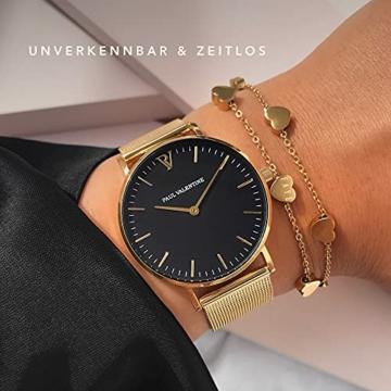 Paul Valentine Damenuhr - Pearl Gold Mesh - Armbanduhr mit schönem Ziffernblatt, kratzfestes Glas, Mesh-Armband in Gold, Uhr für Damen zum Muttertag (32mm) - 4