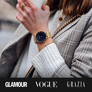 Paul Valentine Damenuhr - Pearl Gold Mesh - Armbanduhr mit schönem Ziffernblatt, kratzfestes Glas, Mesh-Armband in Gold, Uhr für Damen zum Muttertag (32mm) - 5