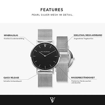 Paul Valentine Damenuhr - Pearl Silver Mesh - Armbanduhr mit schwarzem Ziffernblatt, kratzfestes Glas, Mesh-Armband Silber, Uhr für Damen (36 mm) - 2