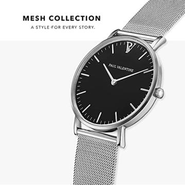 Paul Valentine Damenuhr - Pearl Silver Mesh - Armbanduhr mit schwarzem Ziffernblatt, kratzfestes Glas, Mesh-Armband Silber, Uhr für Damen (36 mm) - 3