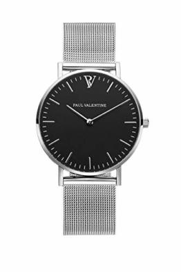 Paul Valentine Damenuhr - Pearl Silver Mesh - Armbanduhr mit schwarzem Ziffernblatt, kratzfestes Glas, Mesh-Armband Silber, Uhr für Damen (36 mm) - 1