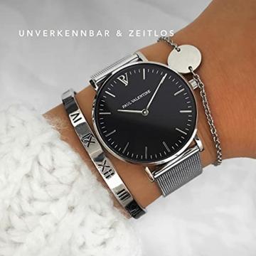 Paul Valentine Damenuhr - Pearl Silver Mesh - Armbanduhr mit schwarzem Ziffernblatt, kratzfestes Glas, Mesh-Armband Silber, Uhr für Damen (36 mm) - 4