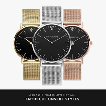 Paul Valentine Damenuhr - Pearl Silver Mesh - Armbanduhr mit schwarzem Ziffernblatt, kratzfestes Glas, Mesh-Armband Silber, Uhr für Damen (36 mm) - 6