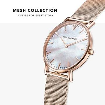Paul Valentine Damenuhr - Rose Gold Seashell - Armbanduhr mit Perlmutt Ziffernblatt in Rosegold, kratzfestes Glas und Mesh-Armband, Uhr für Damen (36mm) - 2
