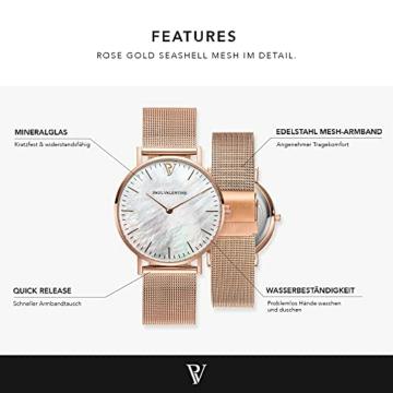 Paul Valentine Damenuhr - Rose Gold Seashell - Armbanduhr mit Perlmutt Ziffernblatt in Rosegold, kratzfestes Glas und Mesh-Armband, Uhr für Damen (36mm) - 3