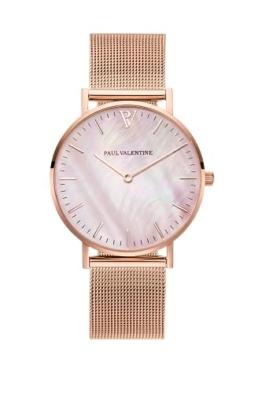 Paul Valentine Damenuhr - Rose Gold Seashell - Armbanduhr mit Perlmutt Ziffernblatt in Rosegold, kratzfestes Glas und Mesh-Armband, Uhr für Damen (36mm) - 1