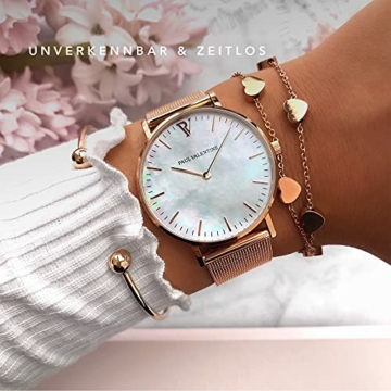 Paul Valentine Damenuhr - Rose Gold Seashell - Armbanduhr mit Perlmutt Ziffernblatt in Rosegold, kratzfestes Glas und Mesh-Armband, Uhr für Damen (36mm) - 4
