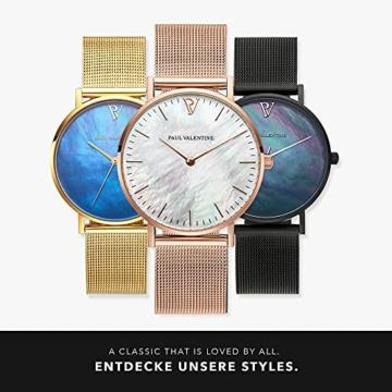 Paul Valentine Damenuhr - Rose Gold Seashell - Armbanduhr mit Perlmutt Ziffernblatt in Rosegold, kratzfestes Glas und Mesh-Armband, Uhr für Damen (36mm) - 6