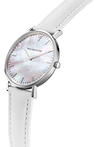 Paul Valentine - Damenuhr Silver Seashell White mit weißem Leder-Armband und echtem Perlmutter Ziffernblatt - 36 mm - Damen Uhr mit japanischem Quarzwerk - Spritzwassergeschützt - Armbanduhr für Damen - 2