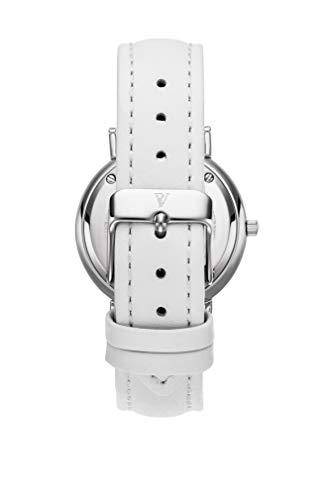 Paul Valentine - Damenuhr Silver Seashell White mit weißem Leder-Armband und echtem Perlmutter Ziffernblatt - 36 mm - Damen Uhr mit japanischem Quarzwerk - Spritzwassergeschützt - Armbanduhr für Damen - 3