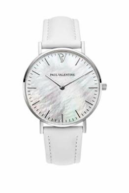 Paul Valentine - Damenuhr Silver Seashell White mit weißem Leder-Armband und echtem Perlmutter Ziffernblatt - 36 mm - Damen Uhr mit japanischem Quarzwerk - Spritzwassergeschützt - Armbanduhr für Damen - 1