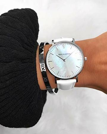 Paul Valentine - Damenuhr Silver Seashell White mit weißem Leder-Armband und echtem Perlmutter Ziffernblatt - 36 mm - Damen Uhr mit japanischem Quarzwerk - Spritzwassergeschützt - Armbanduhr für Damen - 5