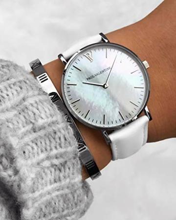 Paul Valentine - Damenuhr Silver Seashell White mit weißem Leder-Armband und echtem Perlmutter Ziffernblatt - 36 mm - Damen Uhr mit japanischem Quarzwerk - Spritzwassergeschützt - Armbanduhr für Damen - 6