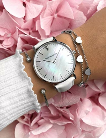 Paul Valentine - Damenuhr Silver Seashell White mit weißem Leder-Armband und echtem Perlmutter Ziffernblatt - 36 mm - Damen Uhr mit japanischem Quarzwerk - Spritzwassergeschützt - Armbanduhr für Damen - 7