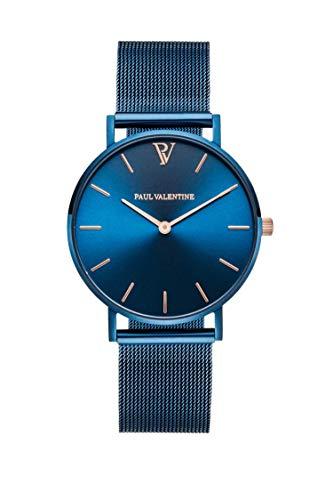 Paul Valentine - Damenuhr und Armband Set - Blue Mesh und Circle Bracelet Set - Edle Damen Uhr mit japanischem Quarzwerk mit passendem Armband - Schmuck Geschenk Frauen - 2