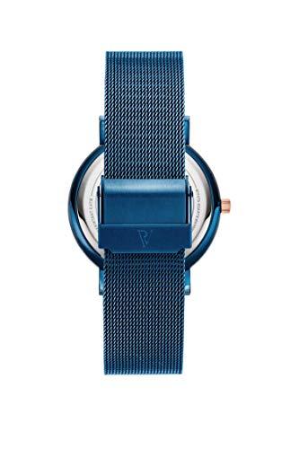 Paul Valentine - Damenuhr und Armband Set - Blue Mesh und Circle Bracelet Set - Edle Damen Uhr mit japanischem Quarzwerk mit passendem Armband - Schmuck Geschenk Frauen - 4