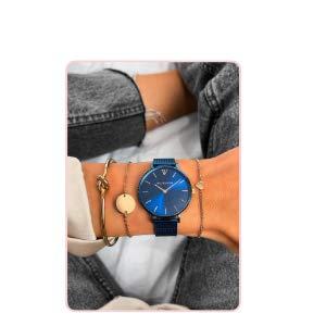 Paul Valentine - Damenuhr und Armband Set - Blue Mesh und Circle Bracelet Set - Edle Damen Uhr mit japanischem Quarzwerk mit passendem Armband - Schmuck Geschenk Frauen - 7