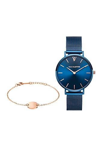 Paul Valentine - Damenuhr und Armband Set - Blue Mesh und Circle Bracelet Set - Edle Damen Uhr mit japanischem Quarzwerk mit passendem Armband - Schmuck Geschenk Frauen - 1