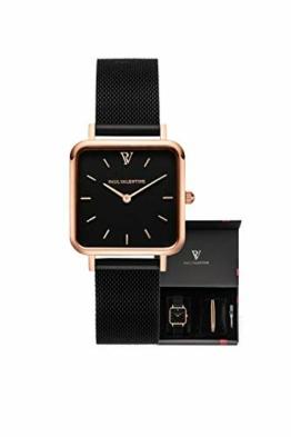 Paul Valentine - Geschenkbox Damenuhr Glossyedge Black Rosegold Black Mesh mit hochwertigem Double-Leyered Sleek Bracelet Geschenkset Uhrenbox mit passendem Armband - 1