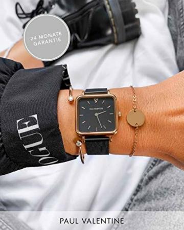 Paul Valentine - Geschenkbox Damenuhr Glossyedge Black Rosegold Black Mesh mit hochwertigem Double-Leyered Sleek Bracelet Geschenkset Uhrenbox mit passendem Armband - 5