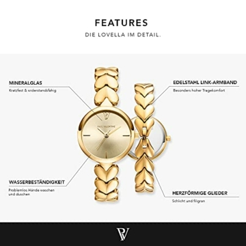 Paul Valentine - Lovella Damenuhr mit herzförmigen Gliedern - 26 mm - Edle Damen Uhr mit japanischem Quarzwerk - Spritzwassergeschützt - Armbanduhr für Damen (Lovella Gold 26mm) - 2